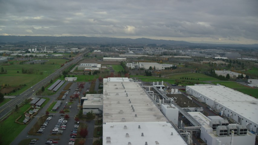 6K stock footage aerial video flying over SolarWorld plant and approach Jireh Semiconductor, Hillsboro, Oregon Aerial Stock Footage AX155_001 | Axiom Images