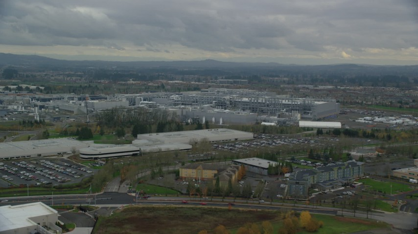 6K stock footage aerial video flying by the Intel Ronler Acres Campus, Hillsboro, Oregon Aerial Stock Footage | AX155_002