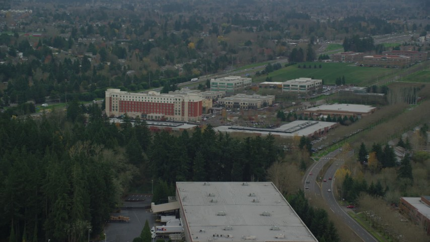 6K stock footage aerial video approaching Embassy Suites in Hillsboro, Oregon Aerial Stock Footage | AX155_004