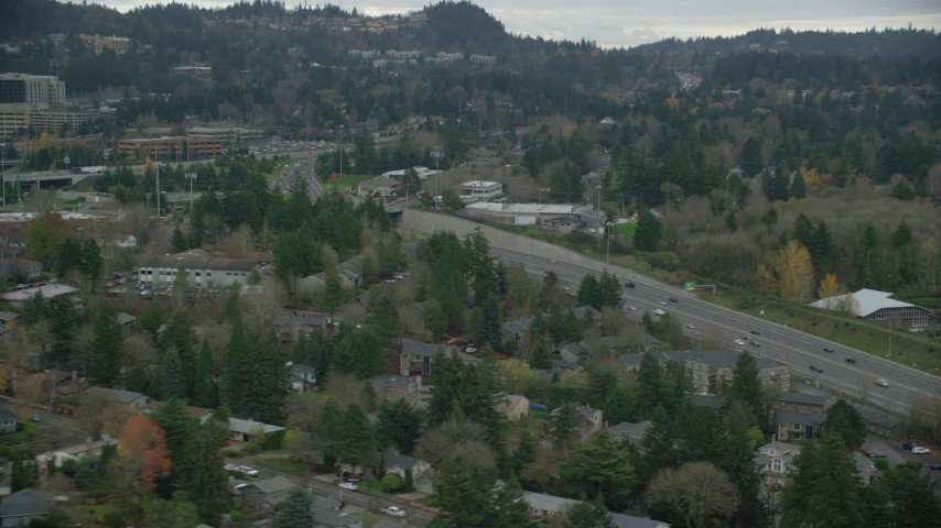 6K stock footage aerial video of light traffic on Highway 217 in autumn, Southwest Portland, Oregon Aerial Stock Footage | AX155_013