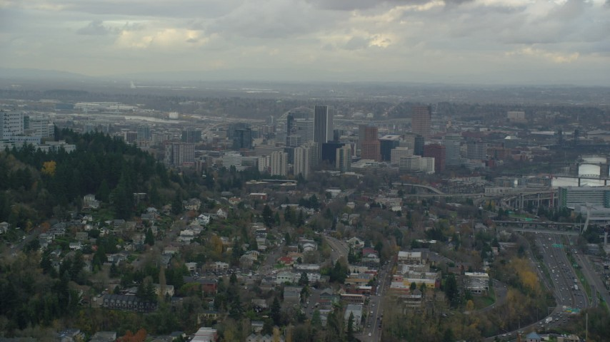 6K stock footage aerial video of Downtown Portland skyscrapers seen from the south side of the city in Oregon Aerial Stock Footage | AX155_020