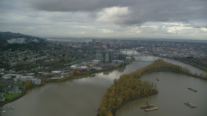 6K stock footage aerial video of South Waterfront condo high-rises, Willamette River, and Downtown Portland Aerial Stock Footage | AX155_021