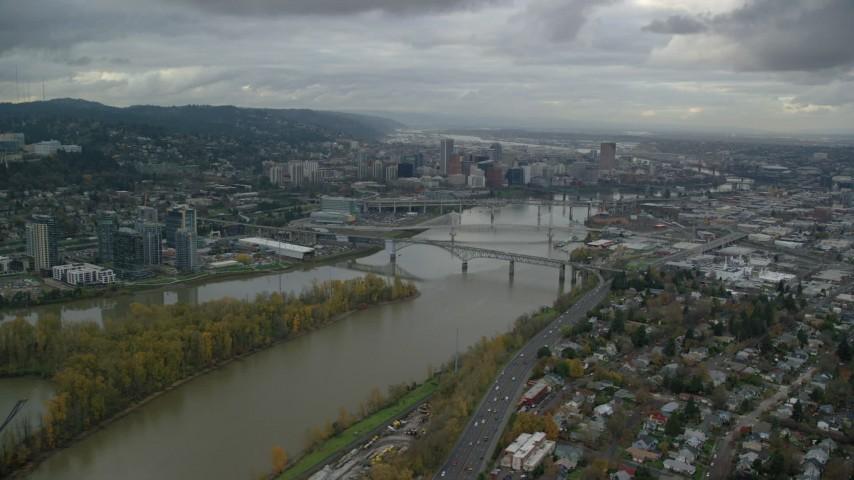 6K stock footage aerial video approaching Ross Island Bridge near Downtown Portland, Oregon Aerial Stock Footage | AX155_023