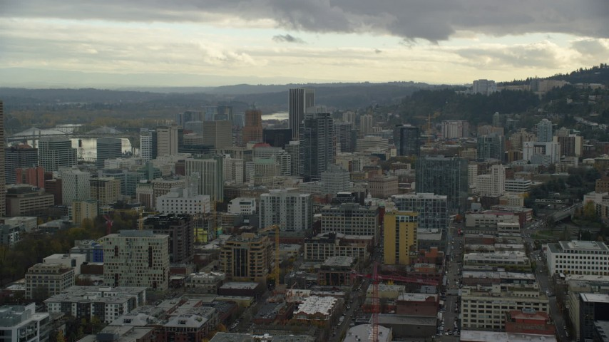 6K stock footage aerial video of Downtown high-rises and skyscrapers, Downtown Portland, Oregon Aerial Stock Footage | AX155_038