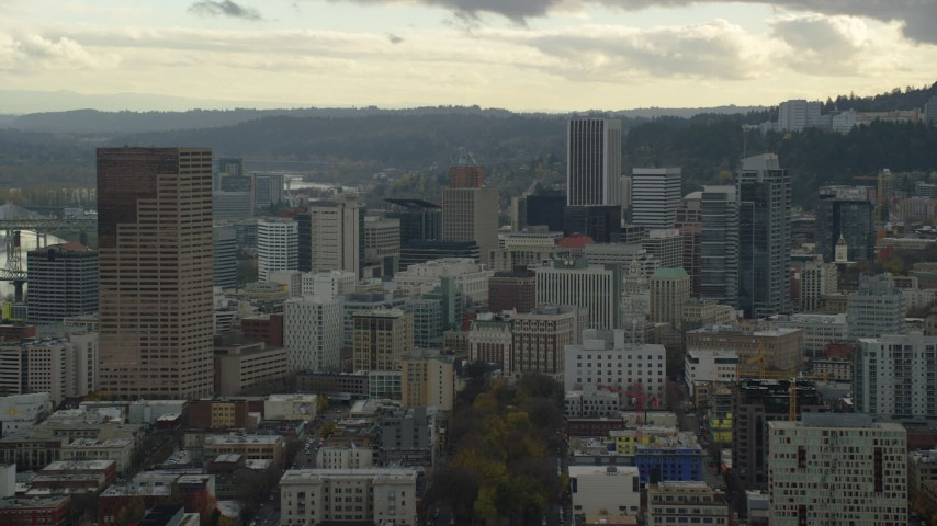 6K stock footage aerial video of US Bancorp Tower and skyscrapers in Downtown Portland, Oregon Aerial Stock Footage | AX155_039