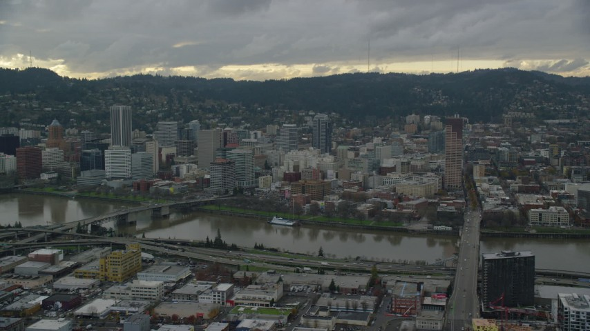 6K stock footage aerial video of bridges over the Willamette River and Downtown Portland, Oregon Aerial Stock Footage | AX155_043