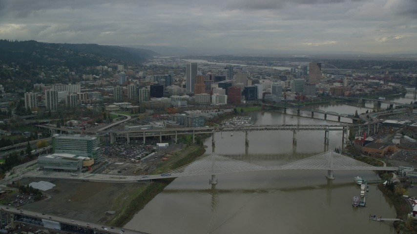 6K stock footage aerial video of Willamette River and bridges near Downtown Portland, Oregon Aerial Stock Footage | AX155_047
