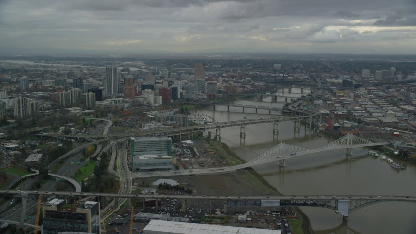 6K stock footage aerial video of Downtown Portland and bridges over the Willamette River in Oregon Aerial Stock Footage | AX155_048
