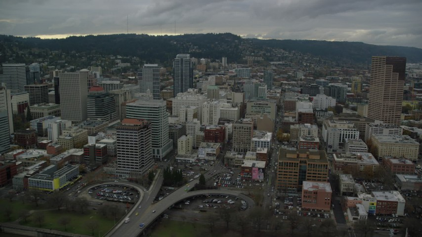 6K stock footage aerial video of skyscrapers, downtown buildings, and US Bancorp Tower in Downtown Portland, Oregon Aerial Stock Footage | AX155_052
