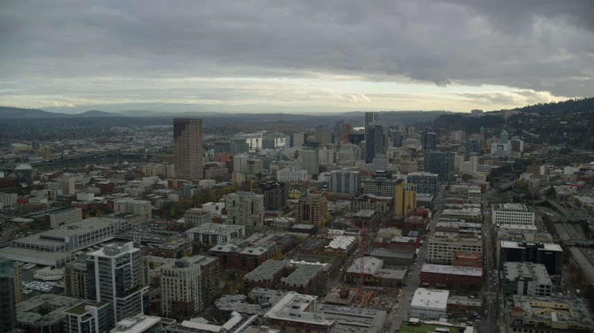 6K stock footage aerial video of Downtown Portland cityscape and I-405 in Oregon Aerial Stock Footage | AX155_055
