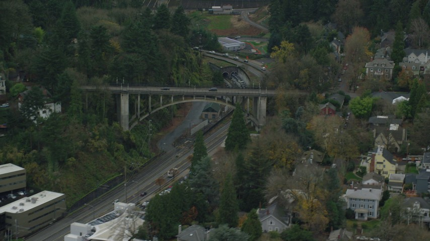 6K stock footage aerial video of Vista Bridge over SW Jefferson Street in the Goose Hollow neighborhood of Portland, Oregon Aerial Stock Footage | AX155_066