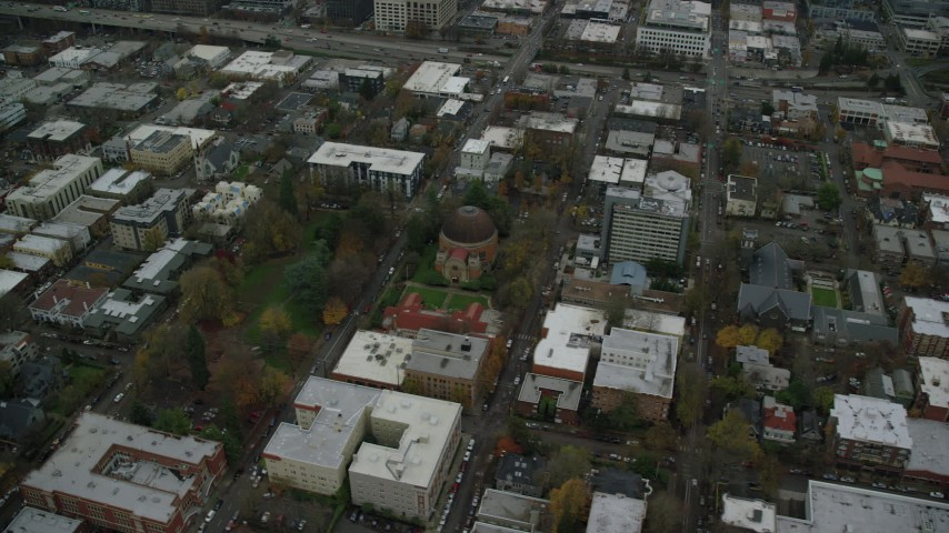 6K aerial video of a bird's eye view of Congregation Beth Israel synagogue in Northwest Portland, Oregon Aerial Stock Footage | AX155_073