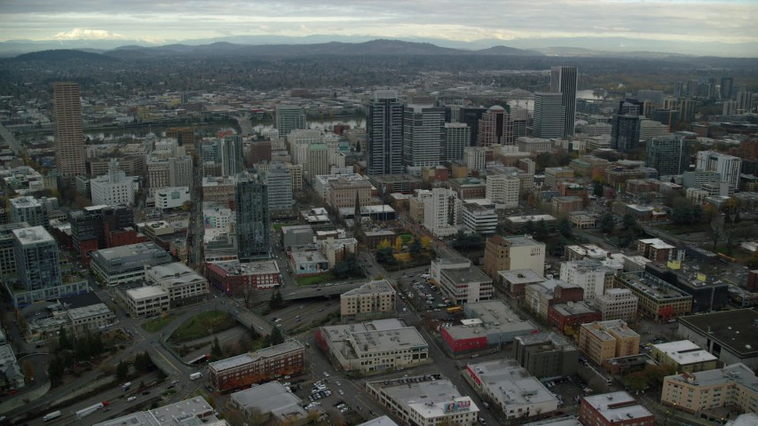 6K stock footage aerial video approaching Park Avenue West Tower in Downtown Portland, Oregon Aerial Stock Footage | AX155_074