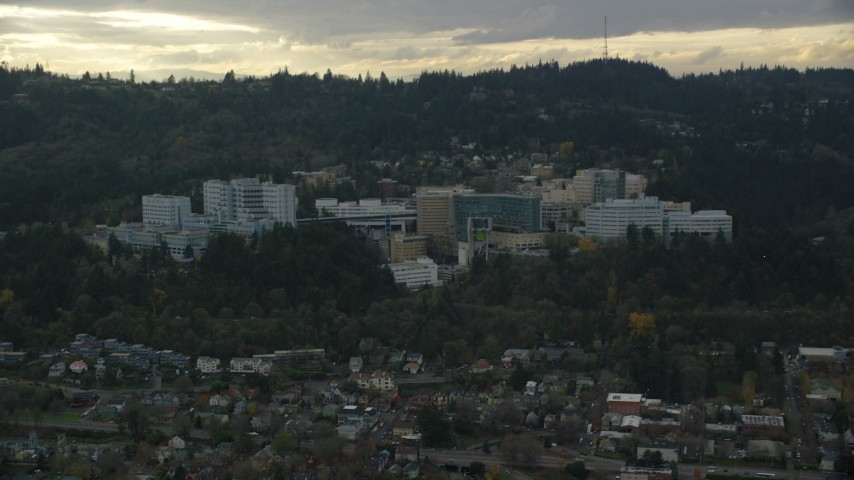 6K stock footage aerial video of Oregon Health and Science University in the hills over Portland, Oregon Aerial Stock Footage | AX155_079