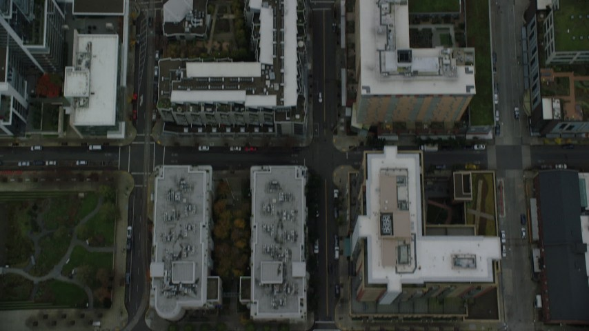 6K stock footage aerial video of a bird's eye view of NW 12th Avenue and buildings in Downtown Portland, Oregon Aerial Stock Footage | AX155_088