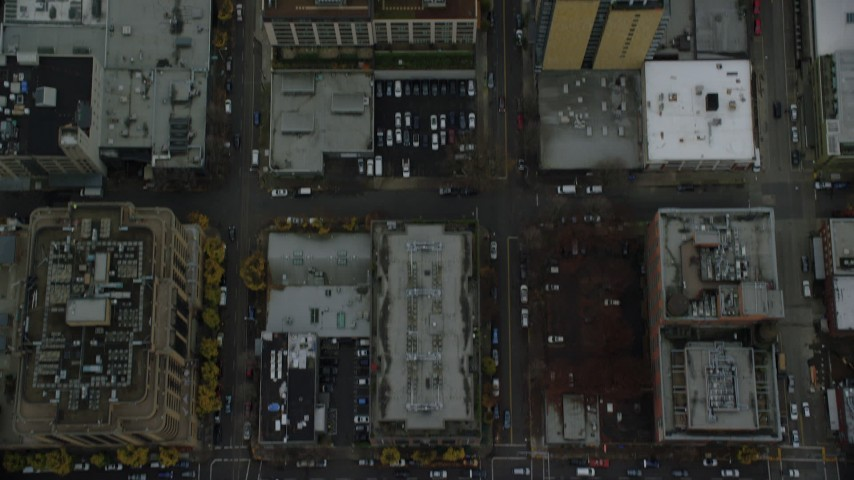 6K stock footage aerial video of a bird's eye view of SW 12th Avenue, buildings in Downtown Portland, Oregon Aerial Stock Footage | AX155_089