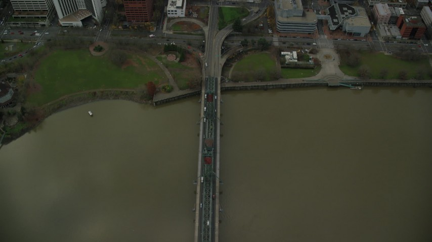 6K stock footage aerial video of a bird's eye view of the Hawthorne Bridge becoming SW Madison Street and the waterfront park in Downtown Portland, Oregon Aerial Stock Footage | AX155_096