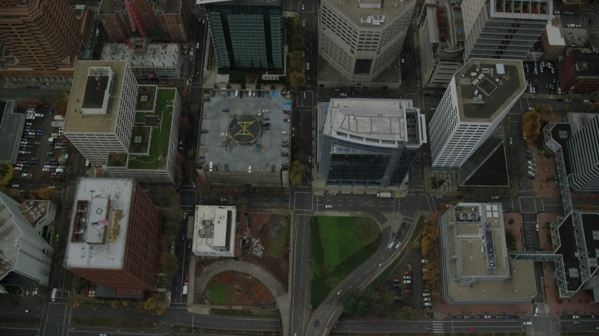 6K stock footage aerial video of a bird's eye view of SW Madison Street and parks in Downtown Portland, Oregon Aerial Stock Footage | AX155_097
