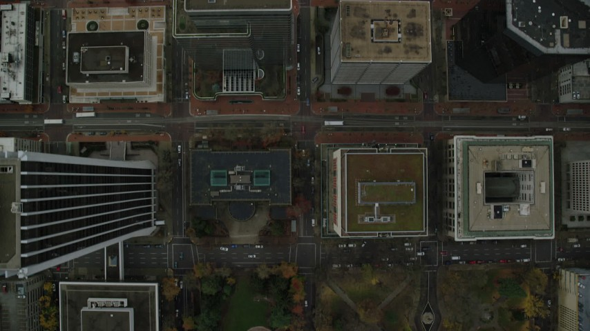 6K stock footage aerial video of a bird's eye view of SW Madison Street, revealing South Park Blocks in Downtown Portland, Oregon Aerial Stock Footage | AX155_098
