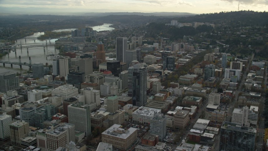 6K stock footage aerial video orbiting of the Downtown Portland cityscape in Oregon Aerial Stock Footage   AX155_102