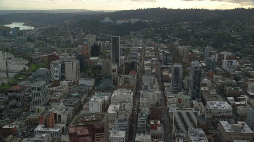 6K stock footage aerial video orbiting the Downtown Portland cityscape in Oregon Aerial Stock Footage | AX155_103