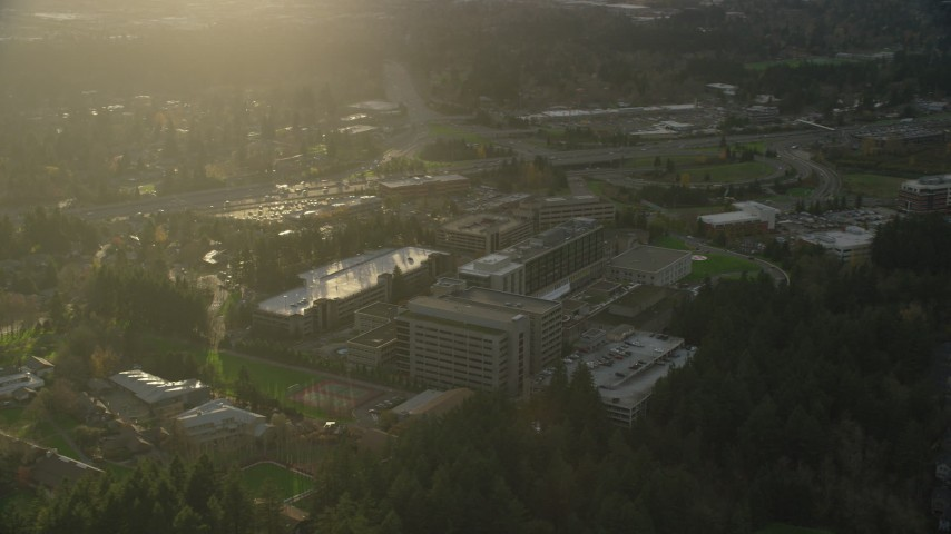 6K stock footage aerial video flying by the Providence St Vincent Medical Center in Southwest Portland, Oregon Aerial Stock Footage   AX155_121