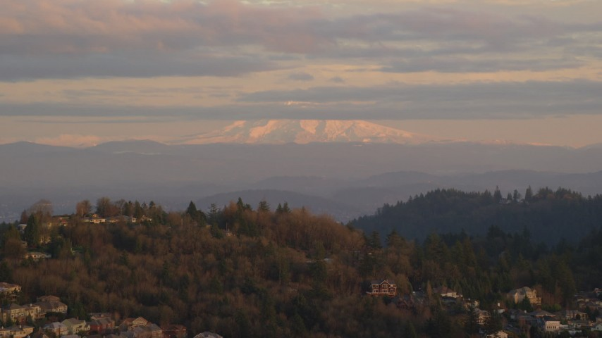 6K stock footage aerial video of Mount Hood seen from hillside homes in Northwest Portland, Oregon Aerial Stock Footage AX155_136