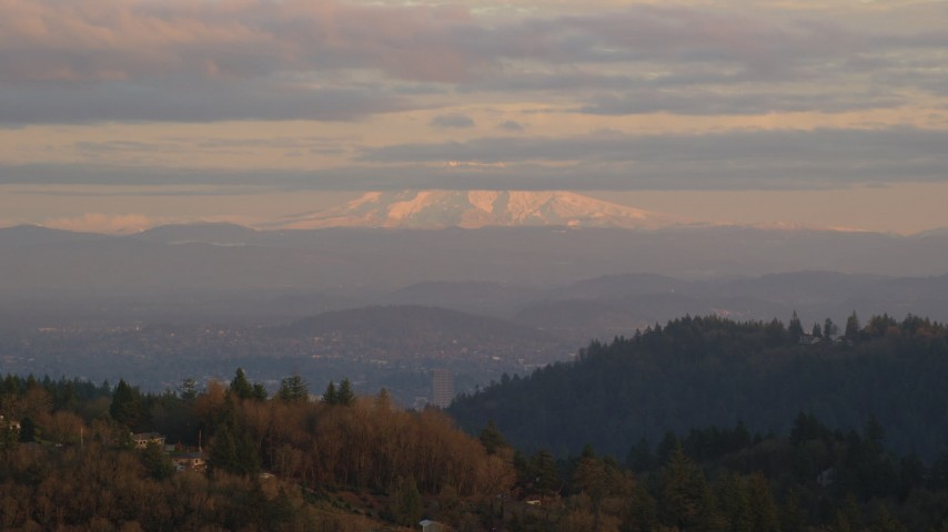 6K stock footage aerial video of Mount Hood seen from hills in Northwest Portland, Oregon Aerial Stock Footage | AX155_137