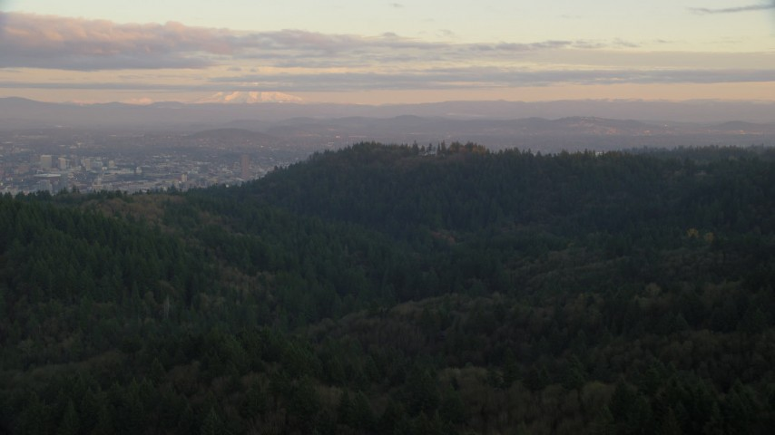 Mount Hood and Downtown Portland at sunset, seen from forest and hills in Northwest Portland, Oregon Aerial Stock Footage | AX155_139