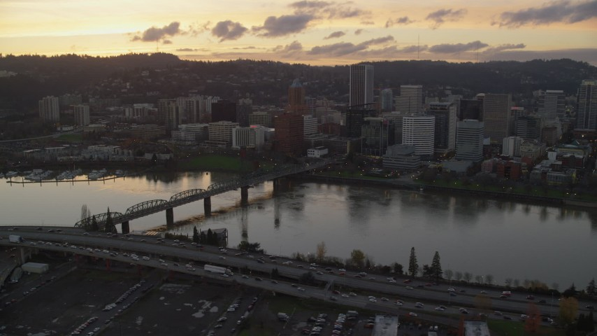 6K stock footage aerial video of Hawthorne Bridge and Downtown Portland at twilight, Oregon Aerial Stock Footage | AX155_189