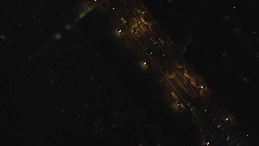 6K stock footage aerial video of a bird's eye of downtown city streets at nighttime; Downtown Portland, Oregon Aerial Stock Footage | AX155_350