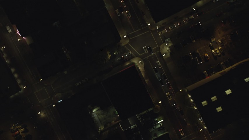 6K stock footage aerial video of a bird's eye of NW / SW Broadway in downtown at nighttime; Downtown Portland, Oregon Aerial Stock Footage | AX155_352
