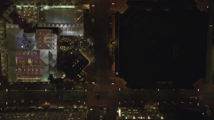 6K stock footage aerial video of a bird's eye of SW Broadway and Pioneer Courthouse Square at night in Downtown Portland, Oregon Aerial Stock Footage | AX155_354
