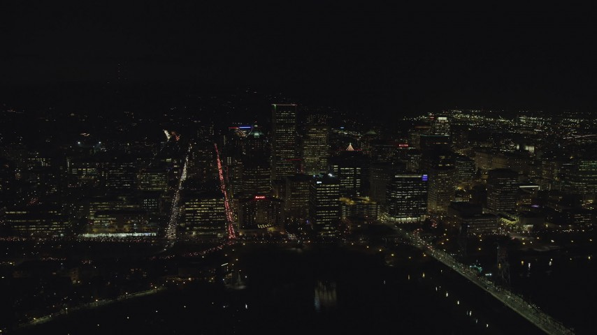 6K stock footage aerial video of Downtown Portland high-rises and skyscrapers at night, Oregon Aerial Stock Footage | AX155_374