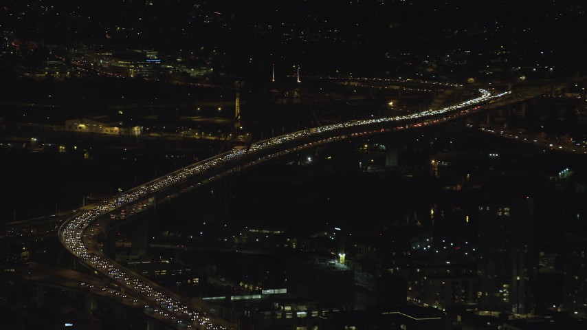 6K stock footage aerial video of heavy traffic on the Fremont Bridge at night in Downtown Portland, Oregon Aerial Stock Footage   AX155_410