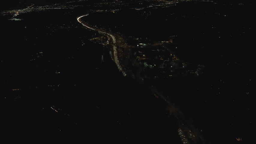 6K stock footage aerial video flying over rush hour traffic on Highway 26 at night, Southwest Portland, Oregon Aerial Stock Footage | AX155_440