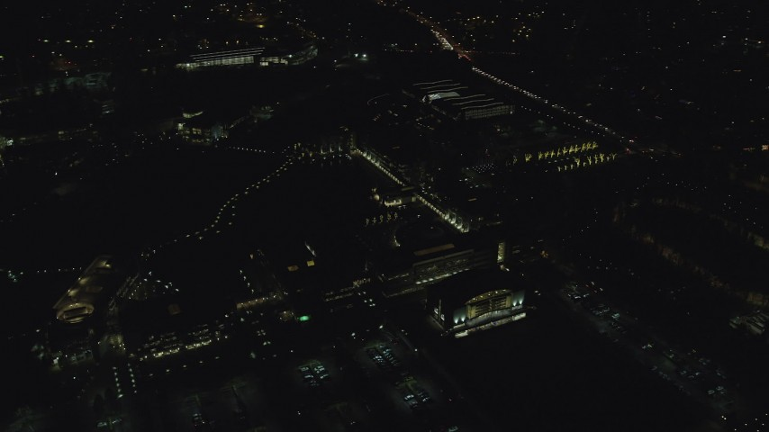 6K stock footage aerial video flying by the Nike Headquarters office buildings at night, Beaverton, Oregon Aerial Stock Footage | AX155_449
