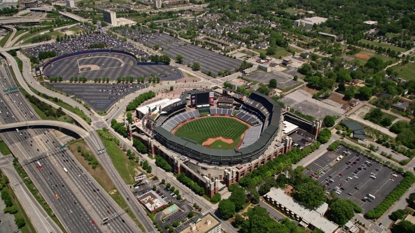 5K stock footage aerial video approaching Turner Field Atlanta, Georgia Aerial Stock Footage | AX36_001