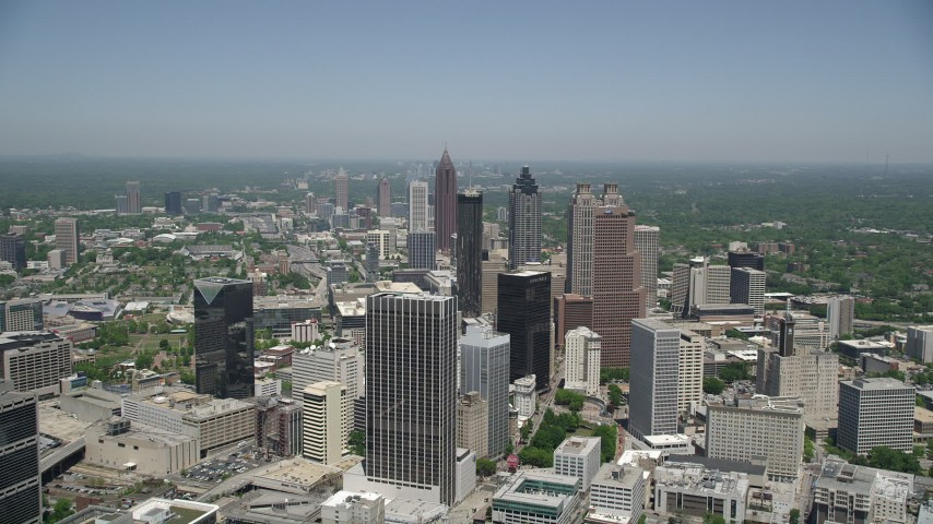 5K stock footage aerial video approaching Downtown Atlanta skyscrapers, Georgia Aerial Stock Footage | AX36_004