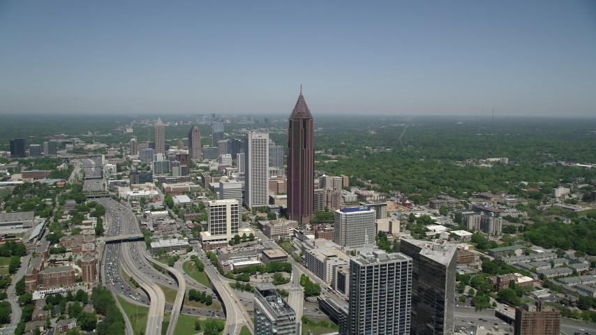 5K aerial video approaching Bank of America Plaza, Midtown Atlanta, Georgia Aerial Stock Footage | AX36_007