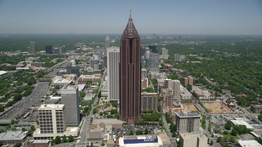 5K aerial video approaching Bank of America Plaza, Midtown Atlanta, Georgia Aerial Stock Footage | AX36_008