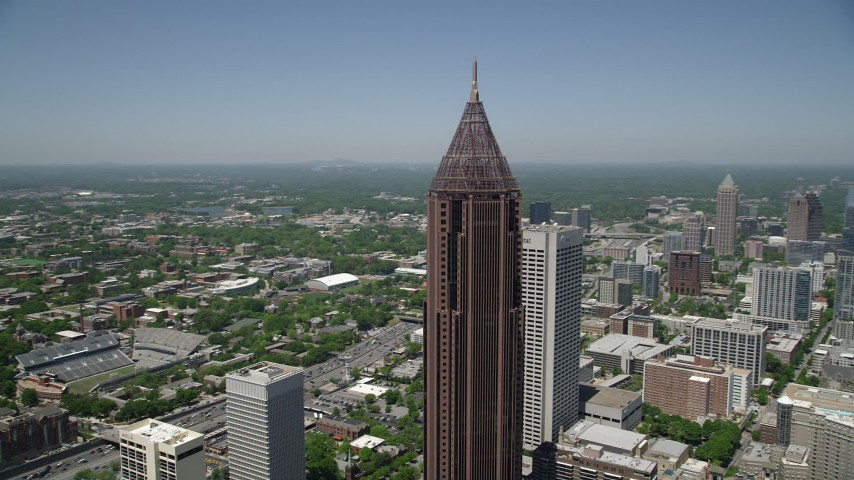 5K stock footage aerial video of a medium shot orbiting Bank of America Plaza, Midtown Atlanta Aerial Stock Footage AX36_009 | Axiom Images