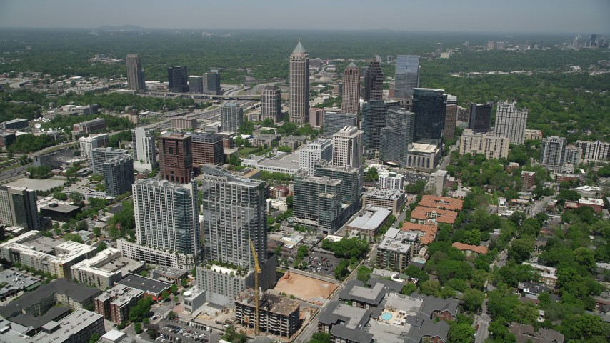 5K stock footage aerial video approaching Midtown Atlanta buildings and skyscrapers, Georgia Aerial Stock Footage | AX36_010