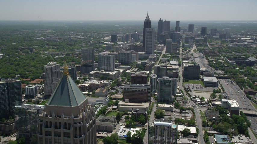 5K stock footage aerial video of Midtown and Downtown Atlanta skycrapers, Georgia Aerial Stock Footage | AX36_017
