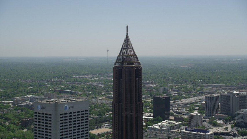 5K stock footage aerial video approaching the top of Bank of America Plaza, Midtown Atlanta, Georgia Aerial Stock Footage | AX36_020