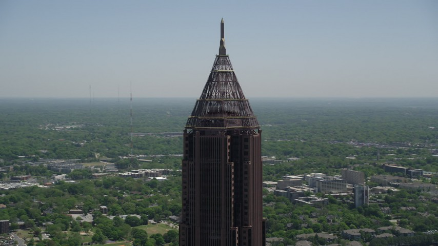 5K stock footage aerial video orbiting top of Bank of America Plaza, Midtown Atlanta, Georgia Aerial Stock Footage | AX36_021