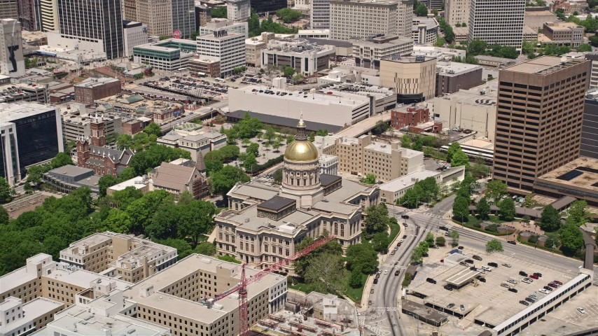 5K aerial video approaching the Georgia State Capitol, Downtown Atlanta, Georgia Aerial Stock Footage | AX36_036