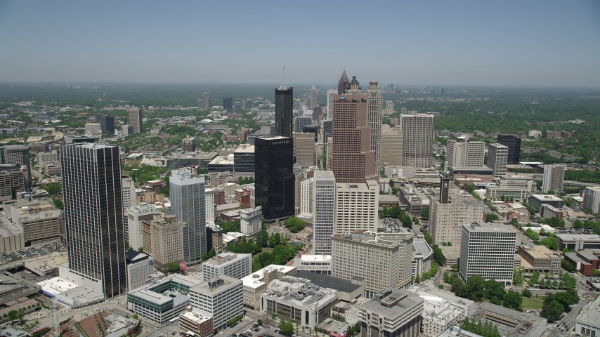 5K stock footage aerial video approaching skyscrapers, Downtown Atlanta, Georgia Aerial Stock Footage | AX36_037
