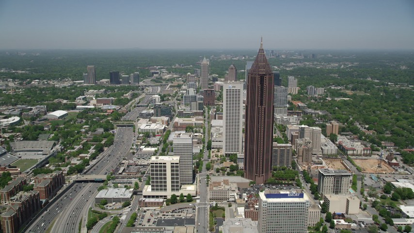 5K stock footage aerial video approaching Bank of America Plaza and AT&T Building, Midtown Atlanta Aerial Stock Footage | AX36_041
