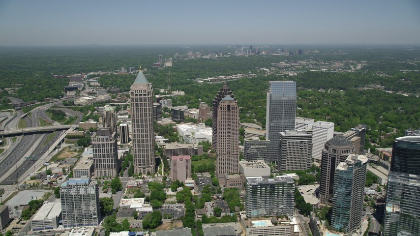 5K stock footage aerial video approaching skyscrapers and One Atlantic Center, Midtown Atlanta Aerial Stock Footage | AX36_043